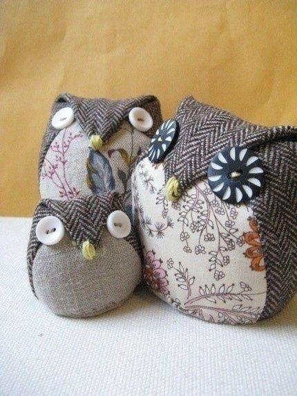 cute fabric owls by tatertot.mcclellan