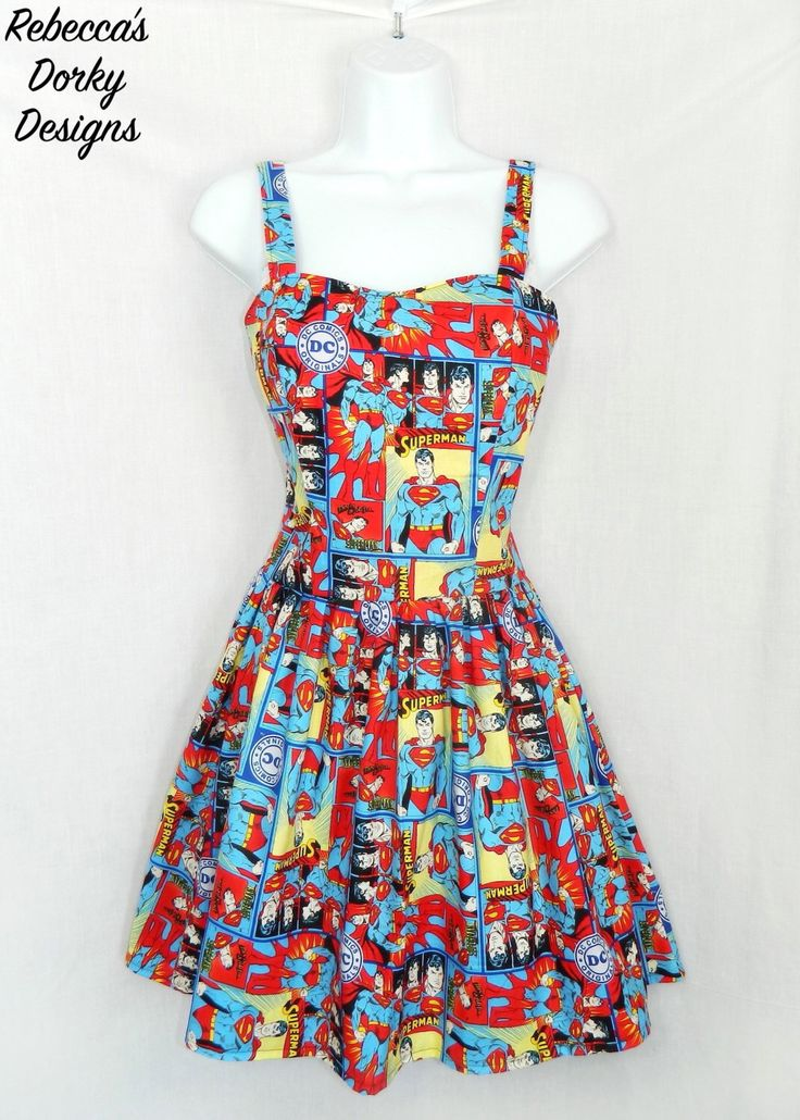DC Superman dress. by RebeccasDorkyDesigns on Etsy https://www.etsy.com/au/listing/289468997/dc-superman-dress