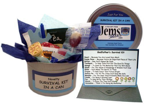 Godfather Survival Kit In A Can. Novelty Fun Gift - Humorous Godparent All In One Thank You Present & Card. Christening/Baptism/Naming Day Thankyou From A Godson/God Daughter. Customise Your Can Colour. by Jemsideas, http://www.amazon.co.uk/dp/B007V4Y950/ref=cm_sw_r_pi_dp_DJz1sb1HPK77W
