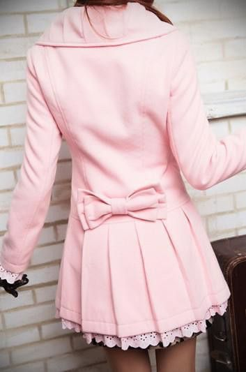 Pink pleated pea coat with bow in back