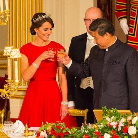 Kate donned a red gown by Jenny Packham to welcome Chinese President Xi Jinping to Buckingham Palace on October 20, topped off with the late Queen Mother's favourite headpiece, the Papyrus tiara