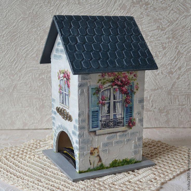 """Купить Чайный домик """"Уютный уголок"""" Декупаж с объемным декором - синий, розы, чайный домик"""