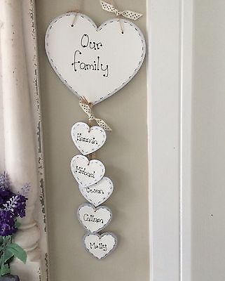 Details about Handmade Personalised Plaque OUR FAMILY Hearts Gift Sign Present Chic shabby