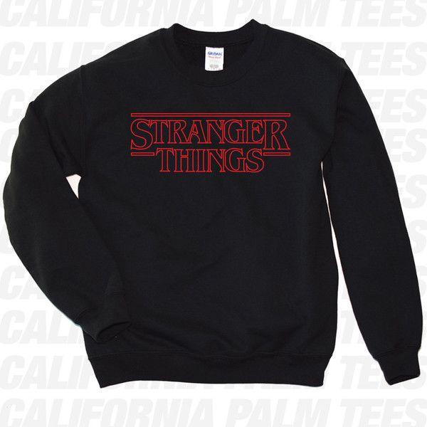 Merry Christmas Stranger Things Sweat Shirt Black Crew Neck Jumper