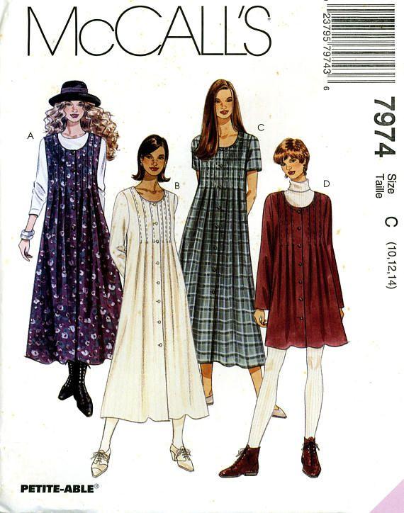 McCalls 7974 Button Front Tuck Dress Jumper Size 10 12 14 Uncut Vintage Sewing Pattern 1995