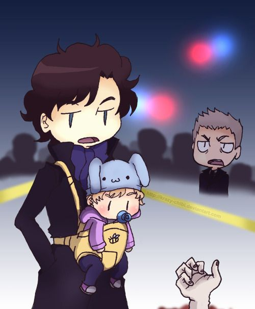 No Sherlock, babysitting does not mean bringing the baby to a crime scene!<<< love baby watson's face