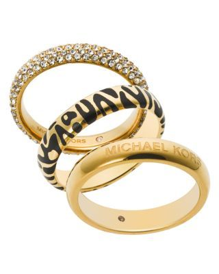Michael Kors Animal Print & Pavé Rings, Set of 3 | Bloomingdale's