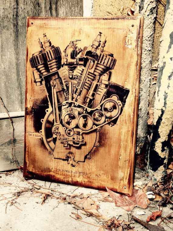 Vintage Indian Motorcycle Engine Home Decor