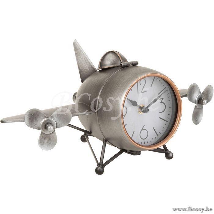 J Line Klok Vliegtuig Ijzer Grijs 36 Jline By Jolipa 2725 Sta Staande Uurwerken Klokken Tafelklokken Pendules Horloges Watches Clocks Uh Clock Decor Home Decor