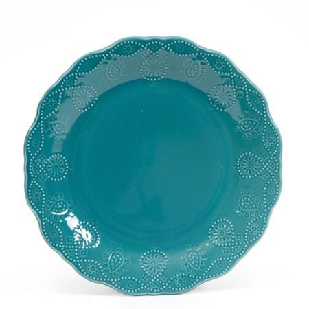 The Pioneer Woman Cowgirl Lace Teal Dinner Plate