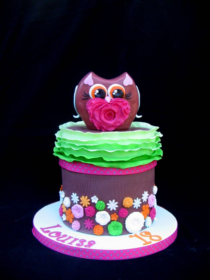 Louisa's 18th birthday owl cake | Ruffle cakes | Pinterest