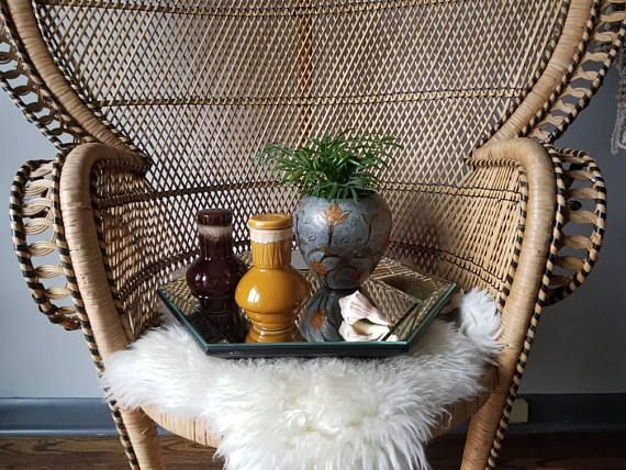 Boho home decor - Peacock chairs and sheepies. Hey, I found this really awesome Etsy listing at https://www.etsy.com/ca/listing/587893639/vintage-ginger-jar-ceramic-vase-drip