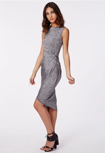Imogen Knot Front Midi Dress Grey Marl - Dresses - Casual Dresses - Missguided