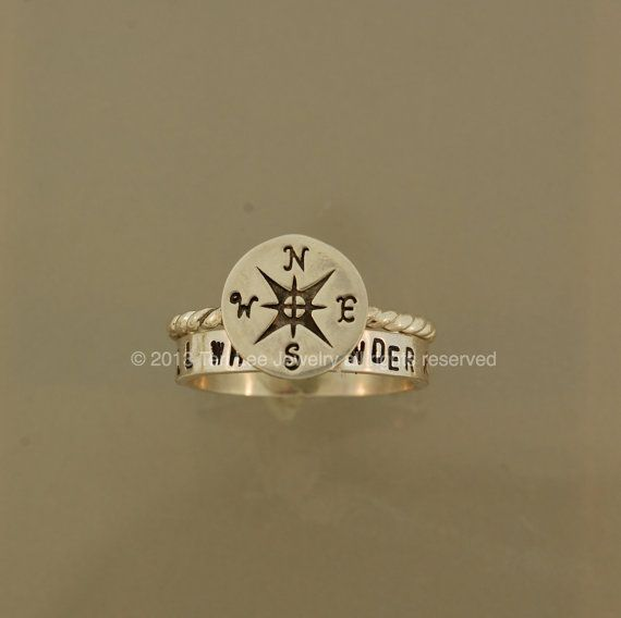 Compass Stack Setnot all who wander ring by TeriLeeJewelry on Etsy