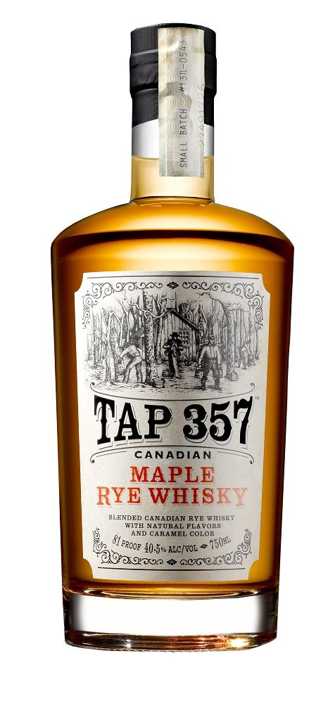 Canadian Maple Rye Whisky    The name says it all, pretty much: Canadian Rye whisky (a blend of whiskys aged 3 to 7 years — the 3, 5, and 7 refer to barrel ages) blended with Quebecois Canada 1 Light maple syrup (and caramel color). Distilled four times, it is aged in used Bourbon barrels and bottled at an odd 81 proof.