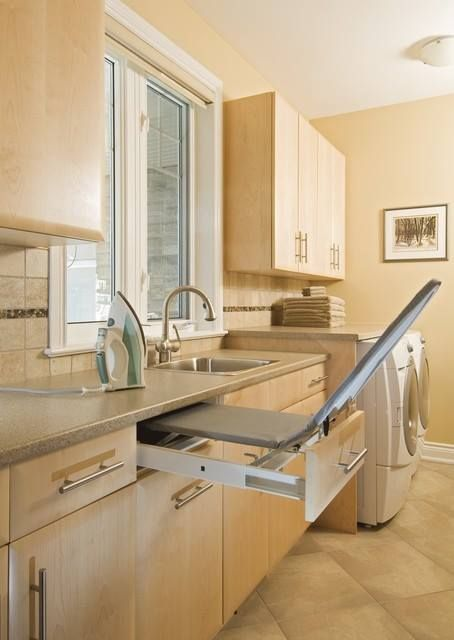 Fold out iron board in utility room