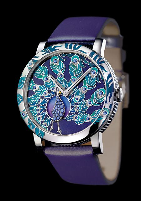 Crazy Jungle Peacock - White Gold - Champlevé Grand Feu Enamel Dial - Boucheron
