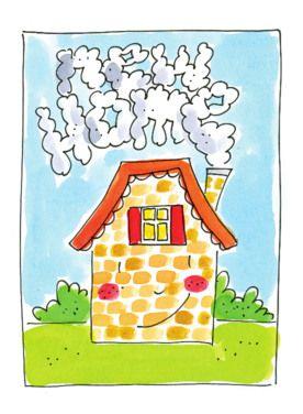 blond lachend huis met rook uit schoorsteen: new home