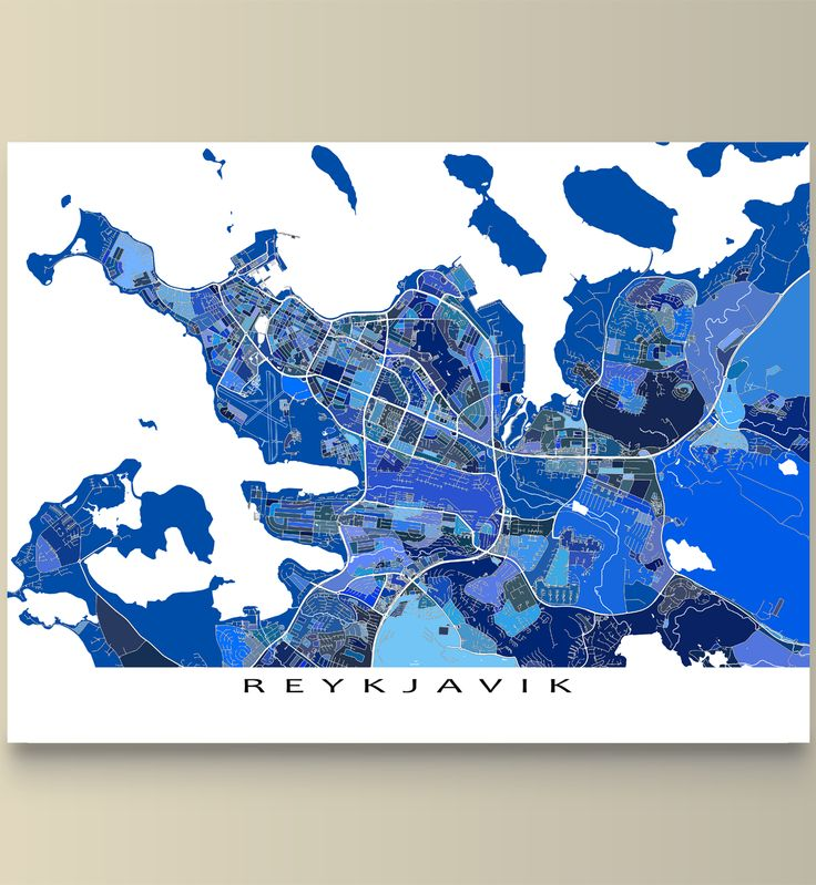 A Reykjavik map print featuring the beautiful and fantastic city of Reykjavik, Iceland!   This Reykjavik art map has a modern, abstract art design made from of lots of little blue shapes. Each shape is actually a city block or a piece of land - and these shapes combine like a puzzle or mosaic to form this Reykjavik, Iceland map. #Reykjavik #Iceland #map