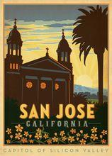Америка Сан-Хосе Калифорния Путешествия Плакат Классический Ретро Винтаж Крафт…