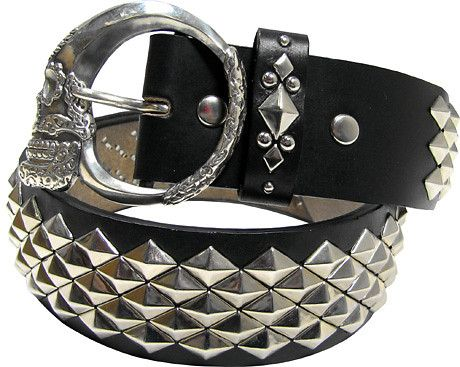 wolf's head×hook studs belt