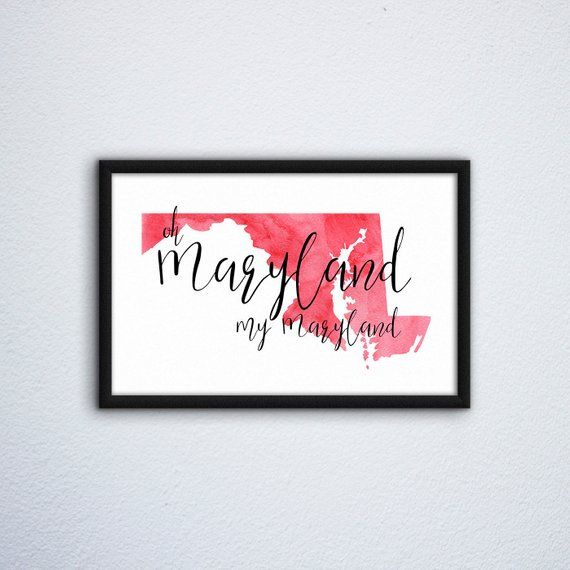 Maryland My Maryland Print Wall Decor Wall Art Downloadable Etsy In 2020 Wall Prints Maryland Gifts Printable Art