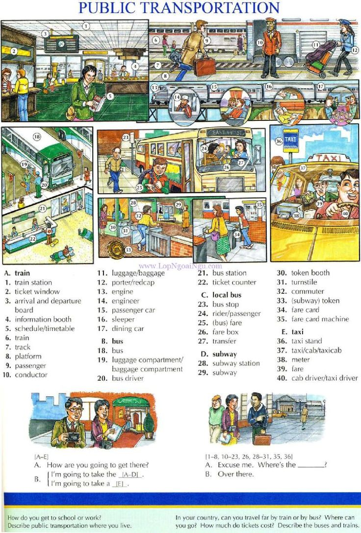 91 - PUBLIC TRANSPORTATION - Pictures dictionary - English Study, explanations, free exercises, speaking, listening, grammar lessons, reading, writing, vocabulary, dictionary and teaching materials