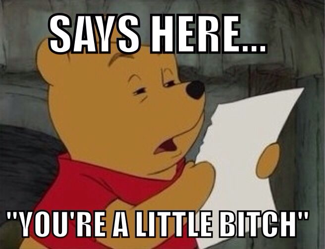 Winnie the Pooh says you're a little bitch. #reaction #funny
