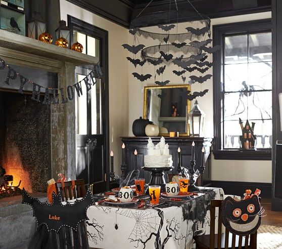halloween decor halloween decorating for halloween party ideas spooky bat chandelier from pottery barn - Pottery Barn Halloween Decorations