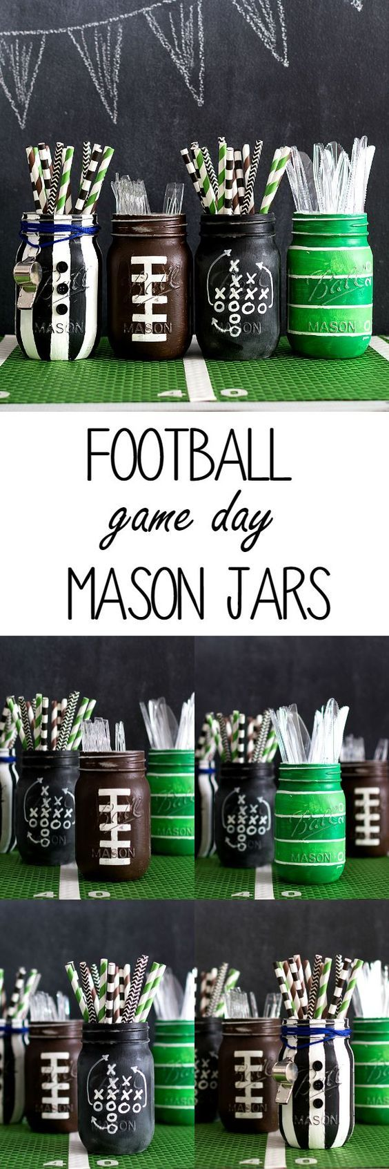Football Party Mason Jars. Super Bowl party idea using football party mason jars painted as footballs, referees, football field with grid lines and football game plan…