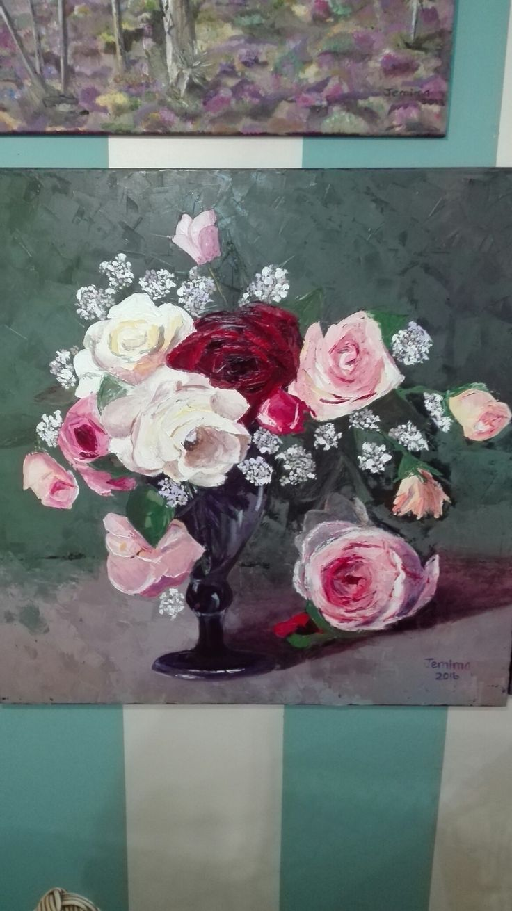 Roses in a vase. Oil painting. artist Jemima