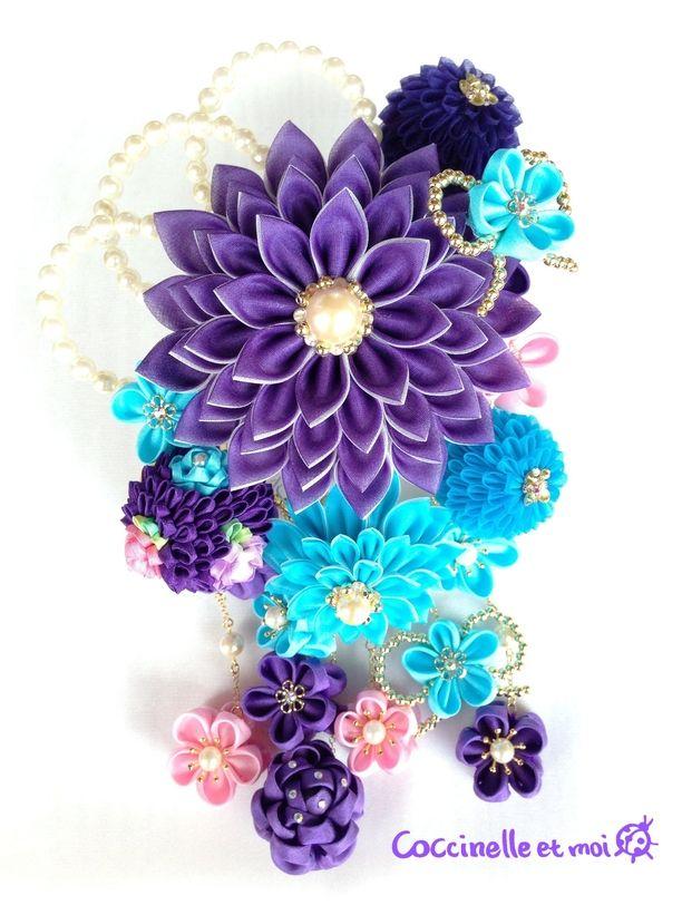 【ご予約済み】華やか紫ダリア風かんざしセット☆つまみ細工