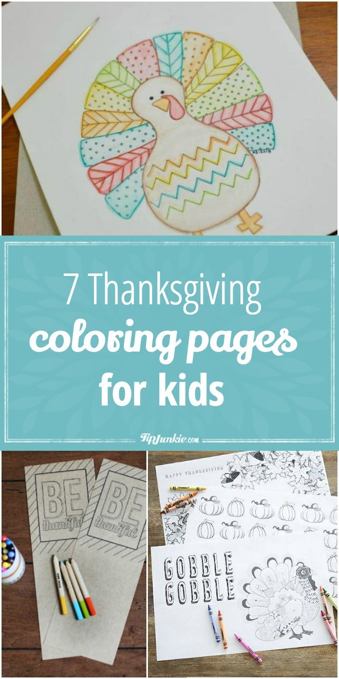 7 Free Thanksgiving coloring pages for kids. via @tipjunkie