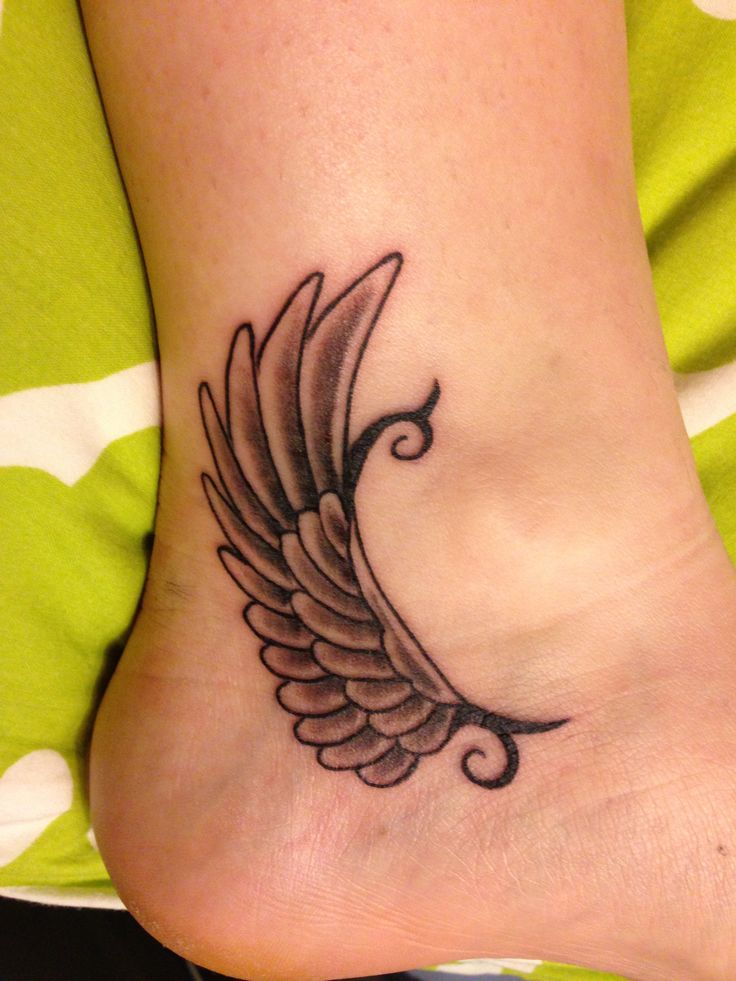 angel wings tattoos on foot - photo #2