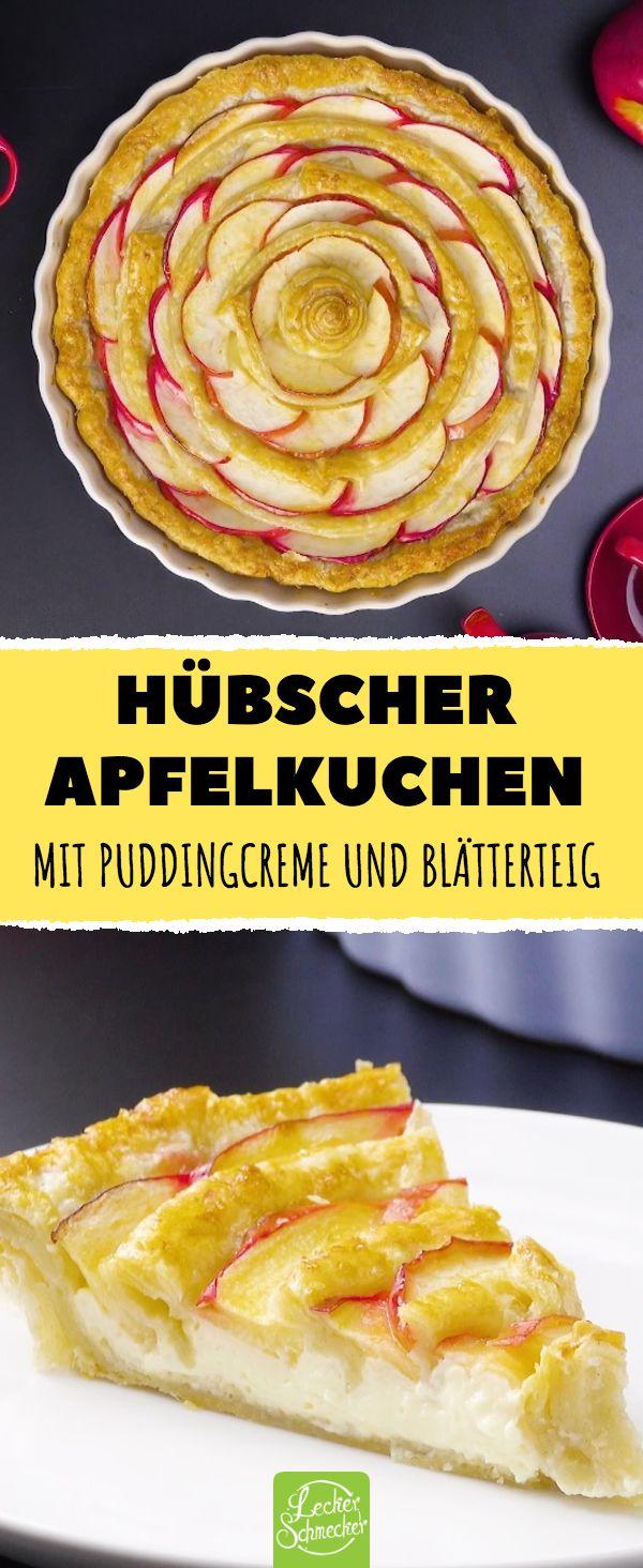 Jolie tarte aux pommes – avec crème au pouding et pâte feuilletée #reze #lecker #apfe …   – Kuchen & Torten Rezepte