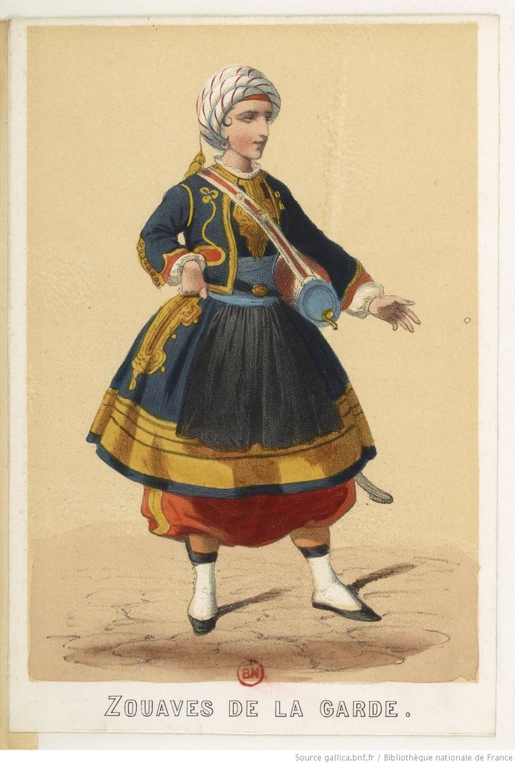 [Costumes militaires français, 1856-1860 : Trompettes, musiciens, vivandières.]   Gallica