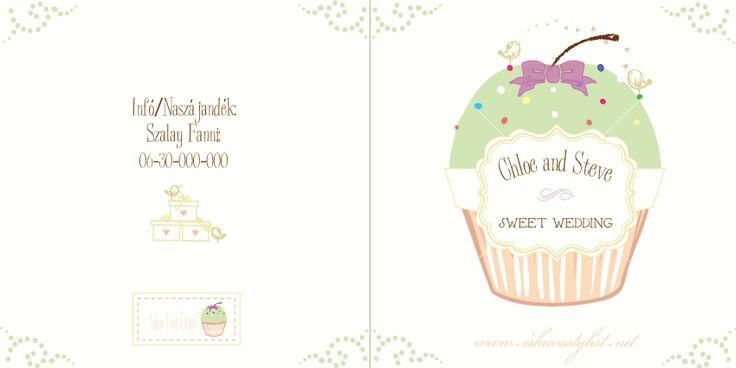 Mesés esküvő, vidám stílusú esküvő dekoráció, almás esküvő, zöld-lila esküvői dekoráció, desszert dekoráció (Meghívó eleje, háta)