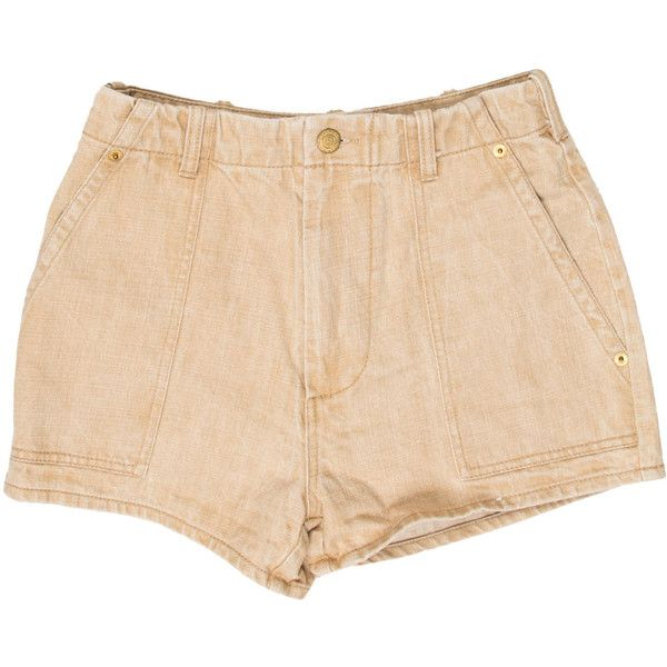 Pre-owned Opening Ceremony Denim High-Waisted Shorts ($65) ❤ liked on Polyvore featuring shorts, neutrals, beige shorts, opening ceremony, high waisted zipper shorts, high waisted shorts and opening ceremony shorts