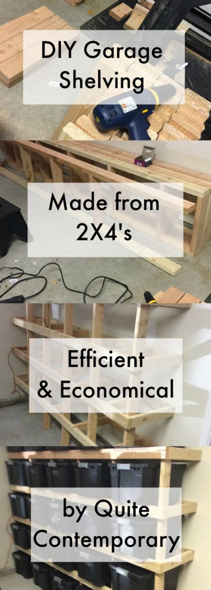 DIY Garage Shelving & Organization designed for efficiency of materials, low cost, and very strong. Easy build in one day!