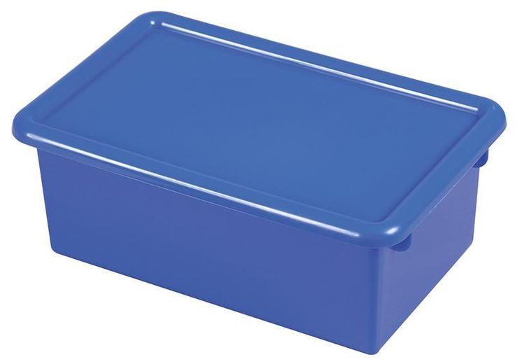 ECR4Kids ELR-0102-BL Stack & Store Tub with Lid - Blue - Set of 12