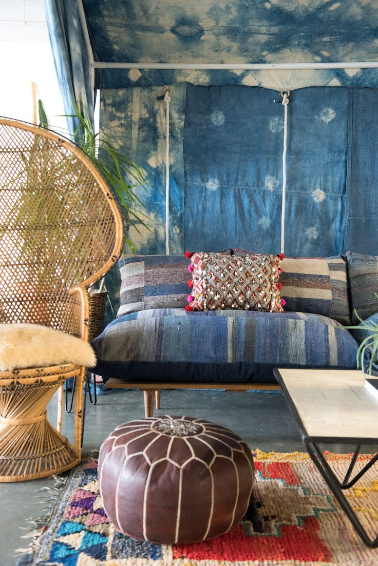 We love setting the cabana up in the office. We also love mixing Batik prints with Batik prints. | Patina Rentals