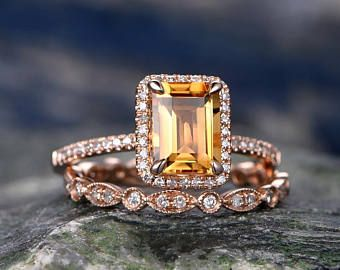 Emerald Cut Citrine engagement ring set-Solid 14k rose gold-Real Diamond Wedding ring-2PC Stacking ring-gemstone-yellow birthstone halo ring