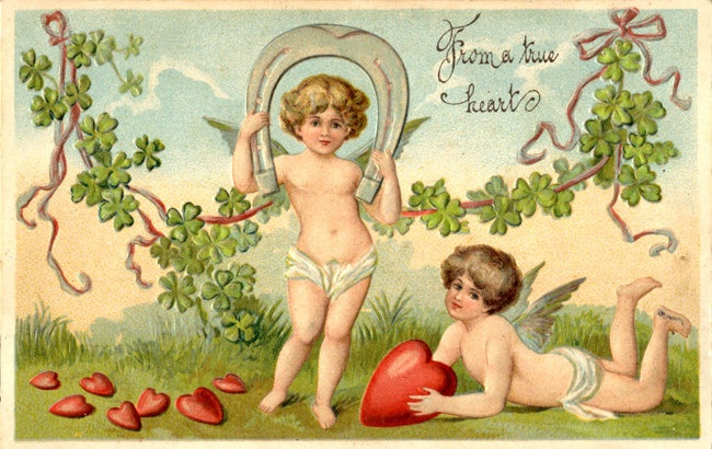 Vintage Valentine's Day embossed postcard featuring two cupids with horse shoe and hearts. $7