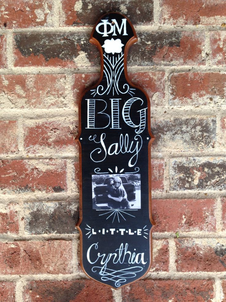The paddle I created for my big! ΦΜ sorority