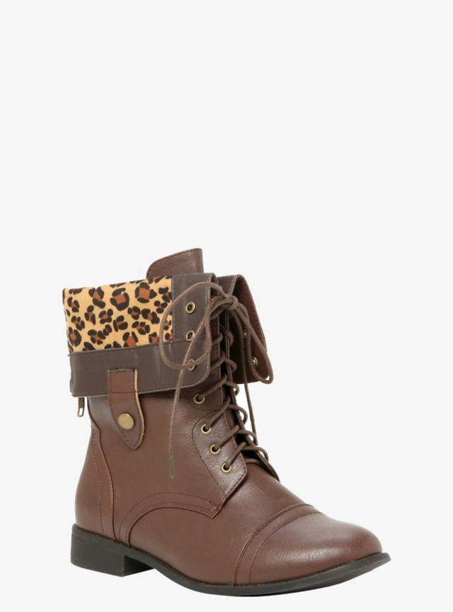 These brown lace-up combat boots have a chic fold-over accent that reveals a leopard print faux suede look that has snap tabs on the sides. With an additional back zip entry and a low heel, the sexy boots are both versatile and fashion-forward.