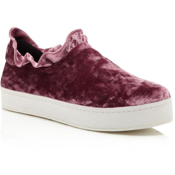 Opening Ceremony Didi Velvet Ruffle Slip-On Sneakers (£186) ❤ liked on Polyvore featuring shoes, sneakers, ash rose, slip-on shoes, slip on sneakers, slip-on sneakers, opening ceremony shoes and opening ceremony