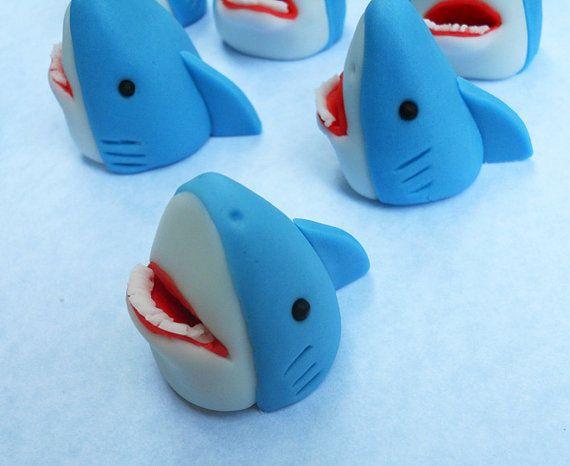 3D SHARKS. Edible Cupcake Toppers. via Etsy