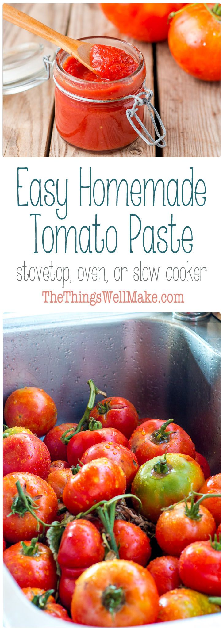 Conserve excess tomatoes with an easy, homemade tomato paste that can be made on the stove top, in your oven, or in a slow cooker. Click to see how I store mine.