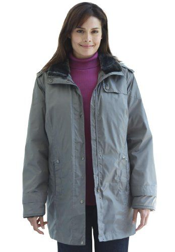 Woman Within Plus Size Parka with faux fur collar