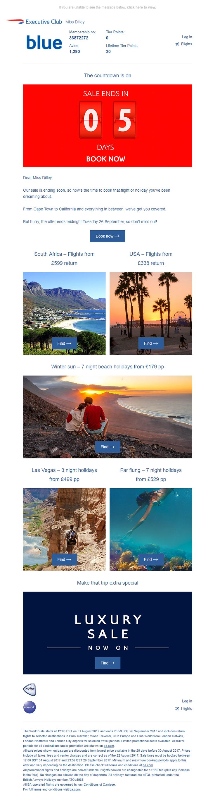 End of Sale Email with Recommendations and Countdown Timer from British Airways #EmailMarketing #Email #Marketing #Product #Recommendations #Countdown #Timer #Travel #Holiday